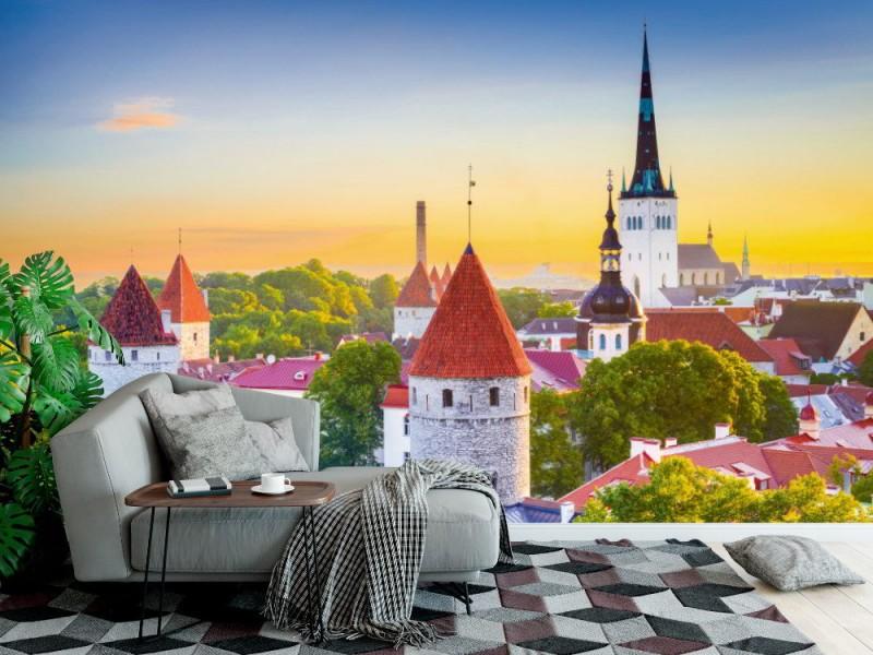 Fototapet gammal stads silhuett i Tallinn (Estland)