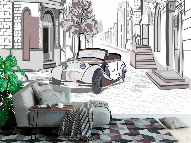 Skiss-stil väggmålning retro bil i den gamla staden