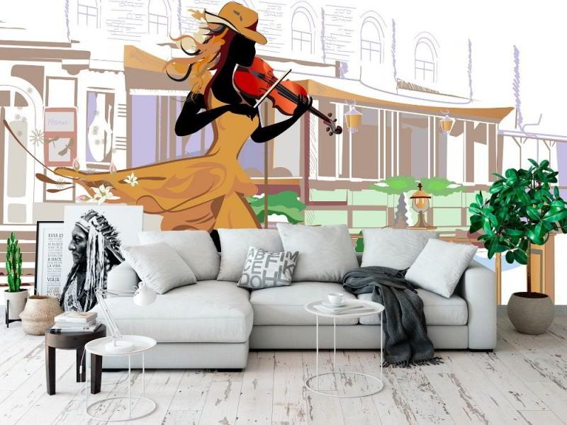 Skiss-stil väggmålningsgata med människor och musik