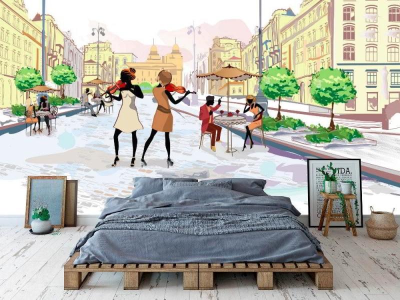 Skiss-stil gatuvy väggmålning med musiker