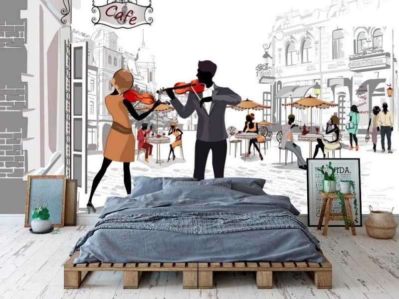 Skiss-stil väggmålning av gatumusikanter i den gamla staden