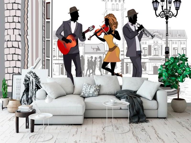 Väggmålning med gatumönster i skissstil med musiker