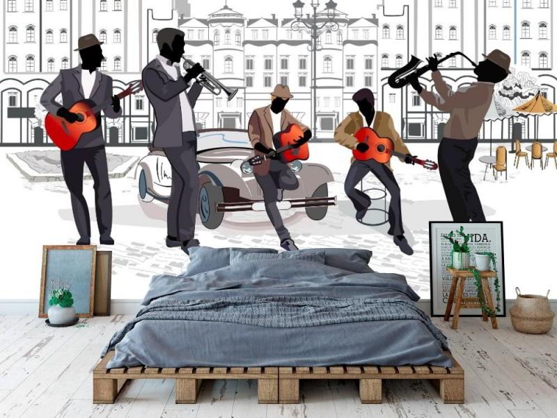 Fototapet gatumusikanter med saxofon, gitarrer, trumpet