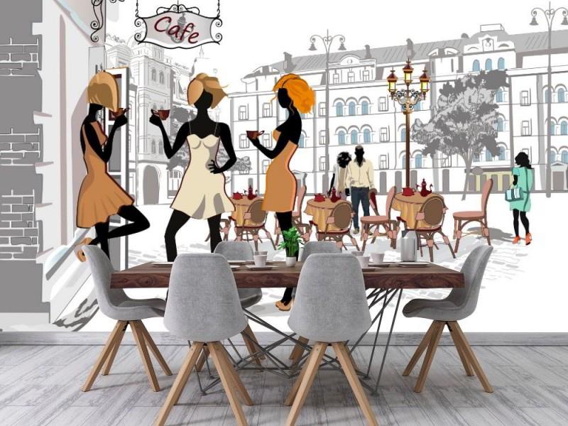Fototapet människor dricker kaffe i gamla stan