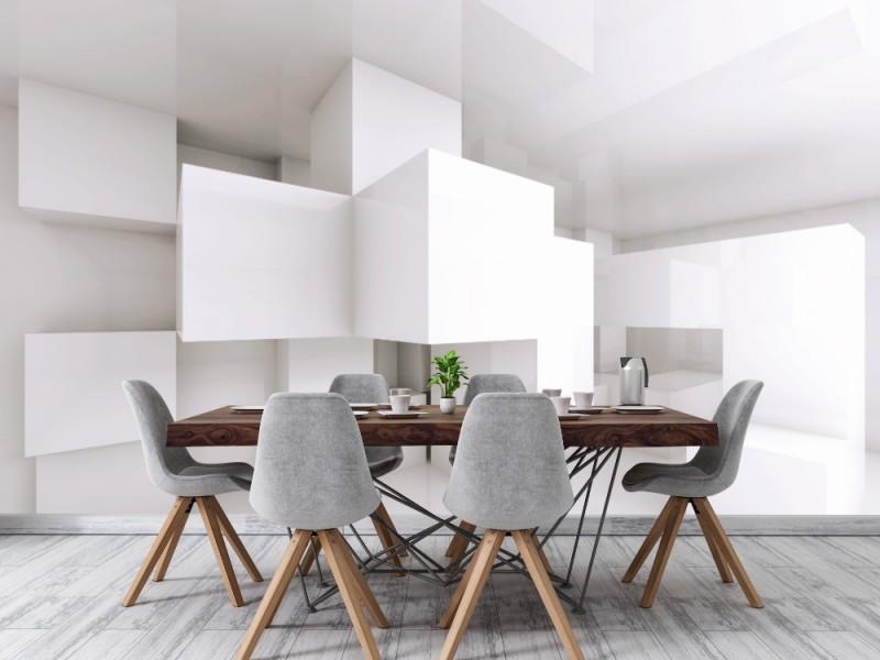 Fototapet abstrakt arkitekturbakgrund med vita kaotiska kuber (38197874)