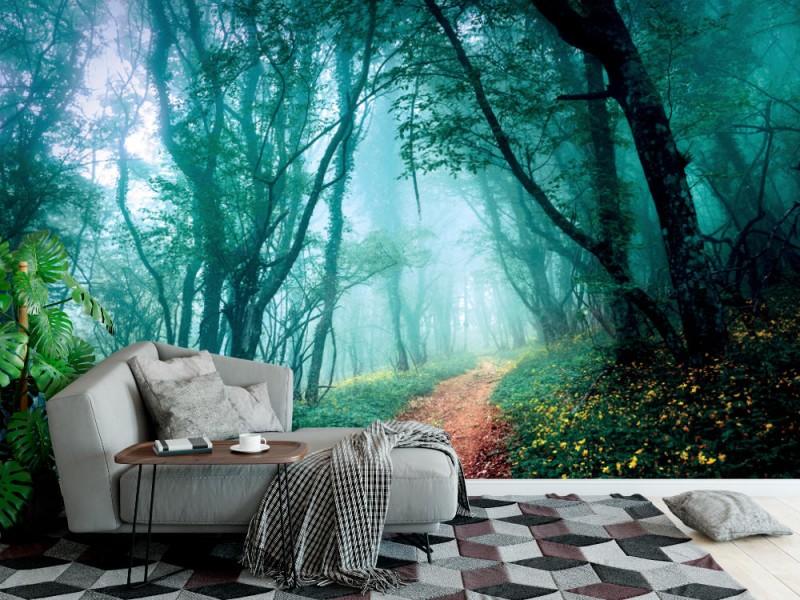 Fototapet med vägen genom en mystisk mörk dimmig skog (38215744)