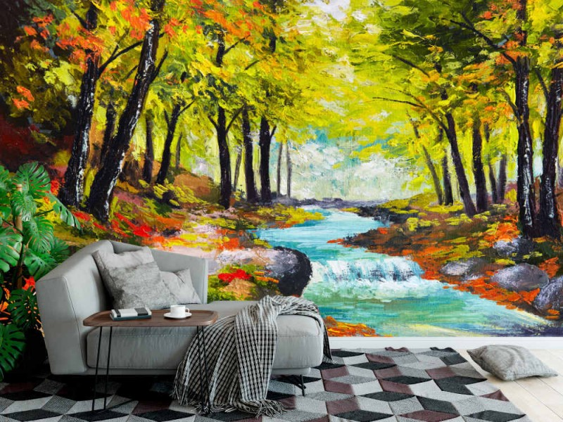 Fototapet River In Autumn Forest
