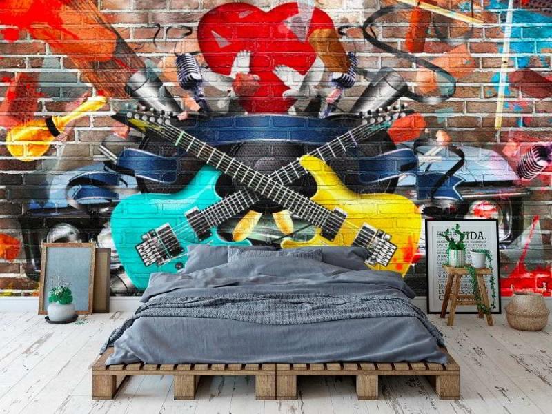Fototapet collage av musik och färg