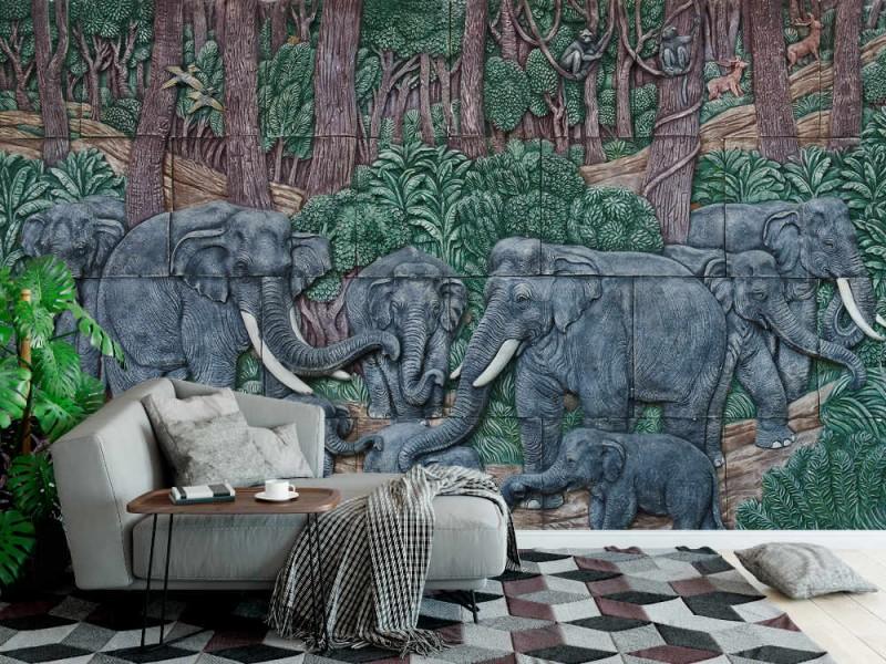 Fototapet elefant thaistuckatur på tempelväggen (39128260)