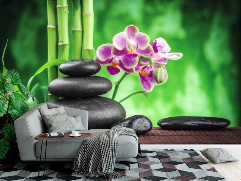 Fototapet Zen basaltstenar, orkidé och bambu (39193994)