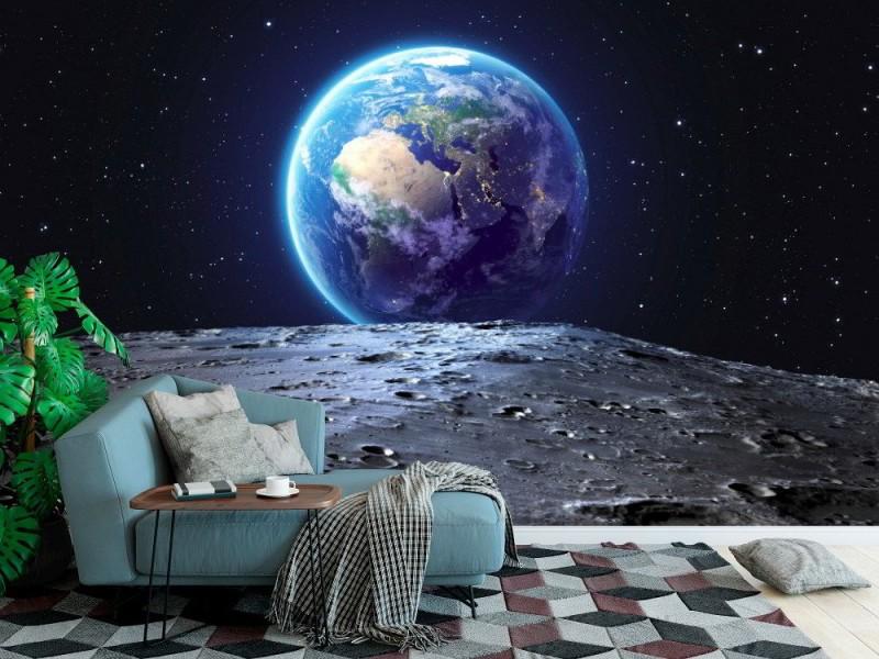 Fototapet blå jord sett från månytan