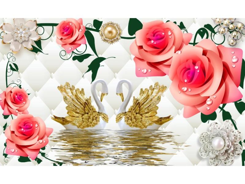 3d Fototapet färgade svanar och blommor (148356309)