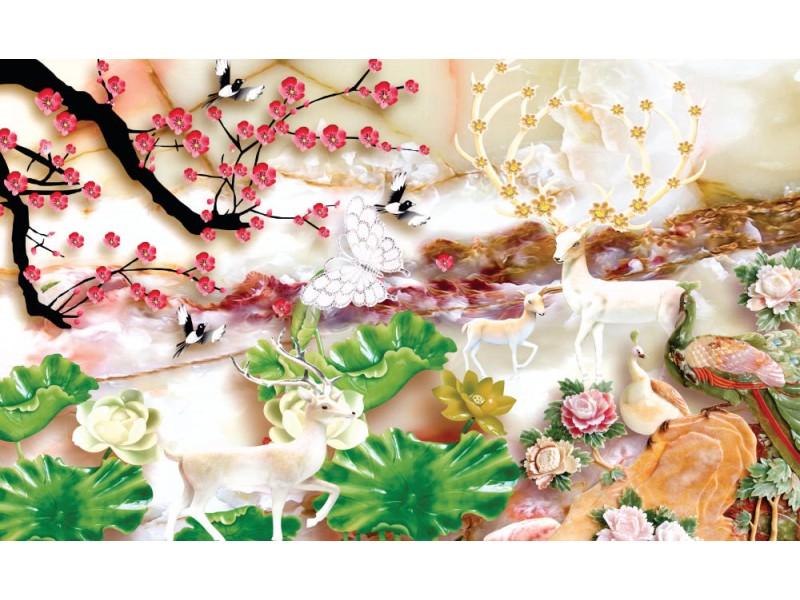 modern konstnärlig 3d Fototapet med guldträdblommor och smycken bakgrund. (146626831)