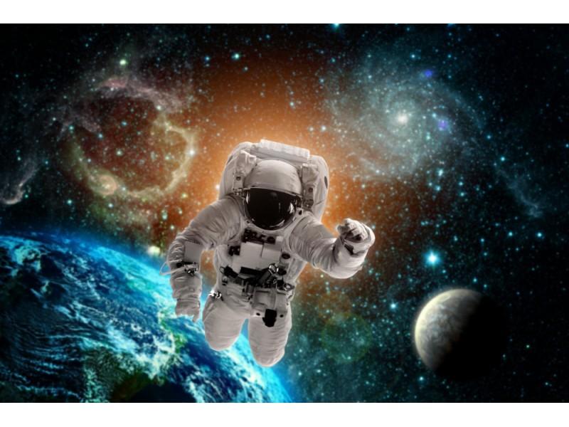 3D-tapet astronaut flyger över jorden i rymden (97108400)
