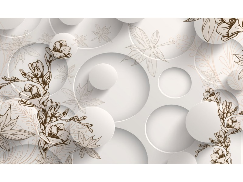modern 3d Fototapet med målade ömma blommor, vita cyklar och blad i bakgrunden (146651165)