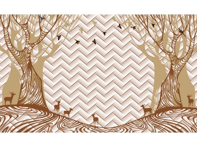3d Fototapet med träd, rådjur och fåglar (146651945)