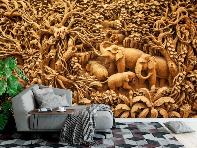 Fototapet snidad thailändsk elefant på träramen (40080624)