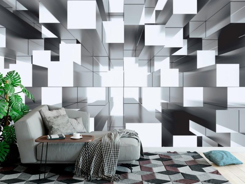 Fototapet abstrakt mosaik tredimensionell grå bakgrund (40260929)