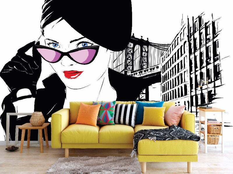 Fototapet modeflicka i skiss-konst-stil