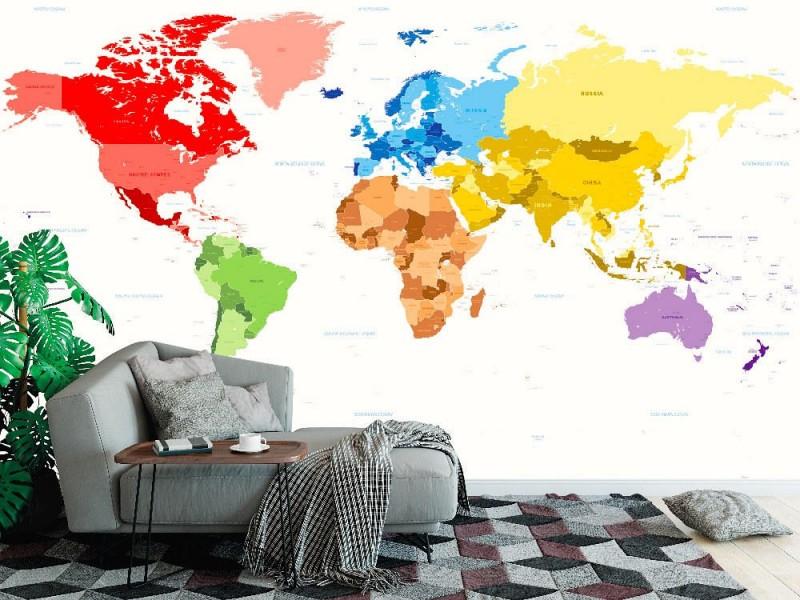 Fototapet karta över världen