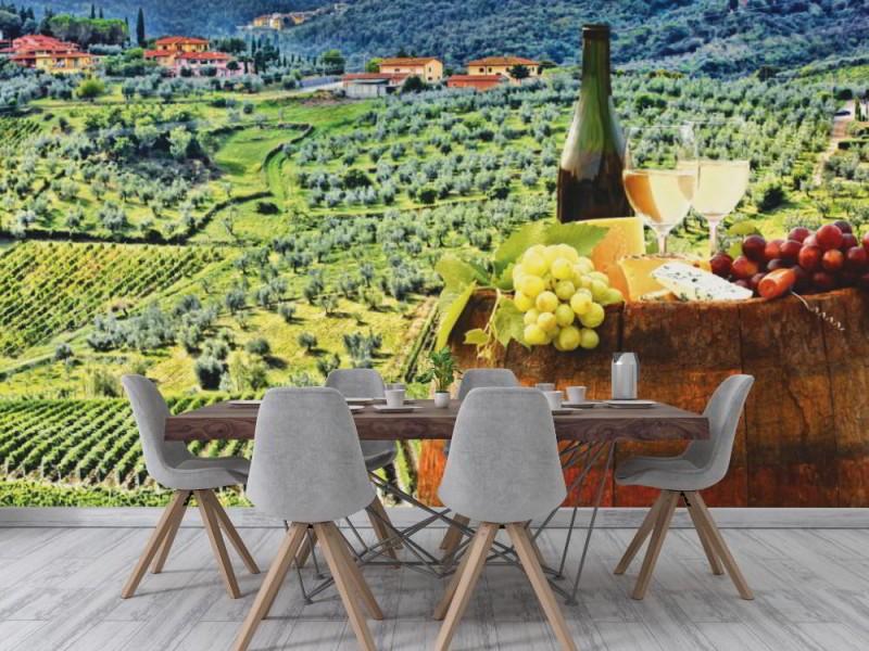 Fototapet vitt vin och vingård i Chianti (41224849)
