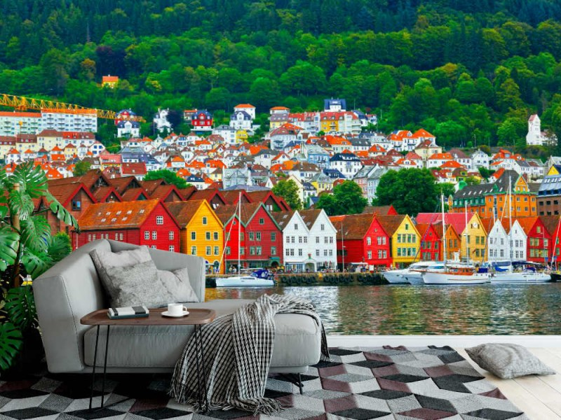Fototapet Bryggen gata i Bergen (Norge)