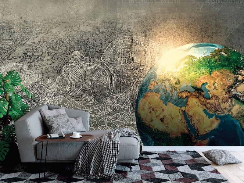 Fototapet högteknologisk planet Jorden