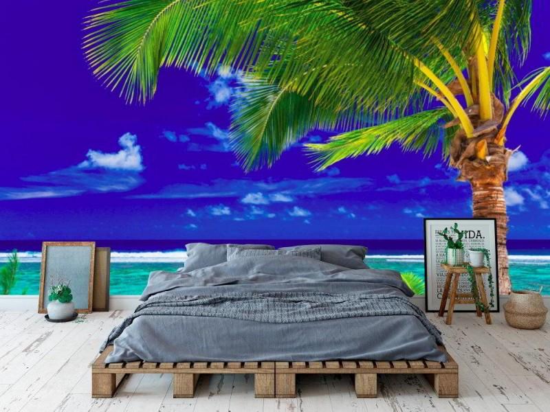 Fototapet enkel palmträd på stranden