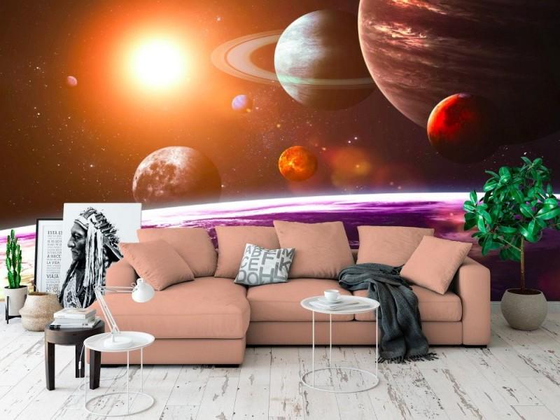 Fototapet solsystem och rymdföremål