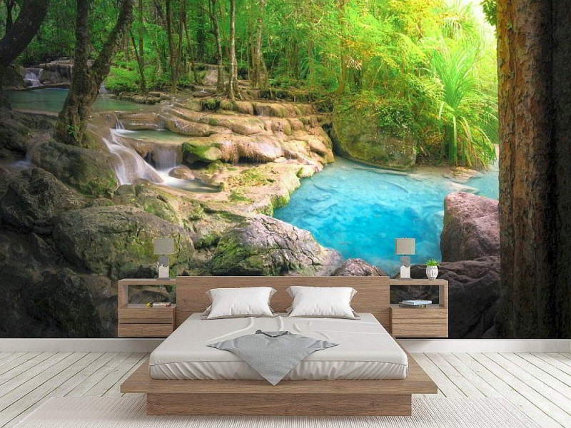 Fototapet Mural Beautiful Forest River Stream