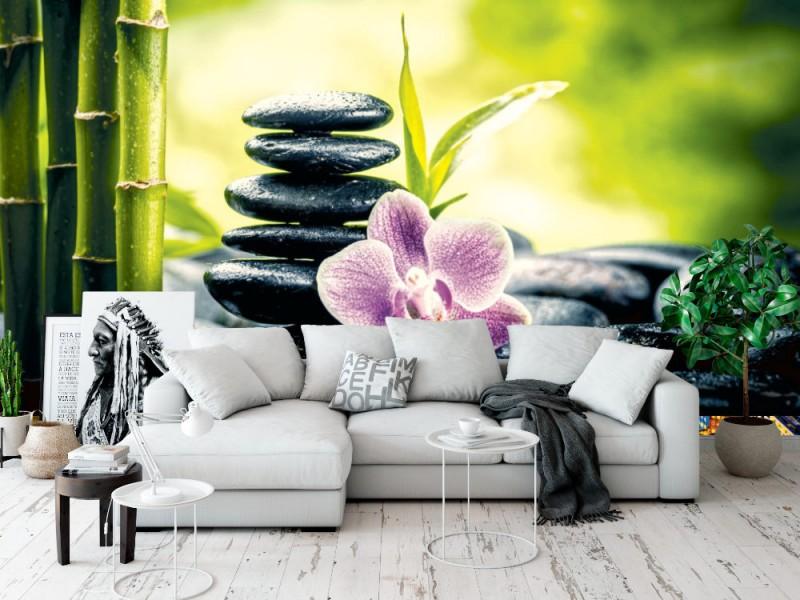 Fototapet zen basaltstenar, orkidé och bambu (45324226)