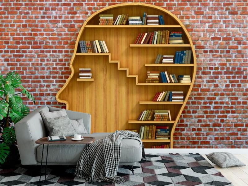 Fototapet bokhylla i form av manligt huvud (45727447)