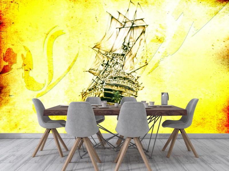 Fototapet medeltid havsbåt