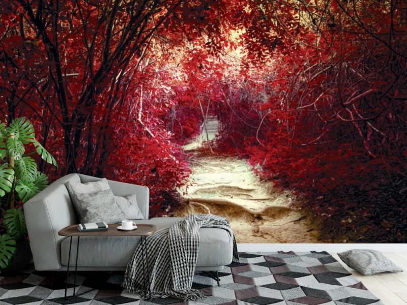 Fototapet Surrealistisk tropisk djungelskog (47408074)