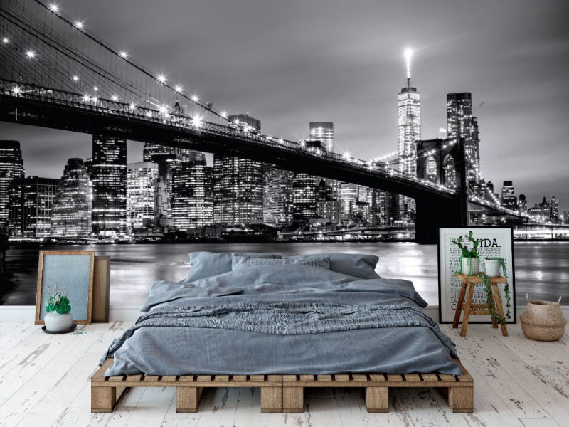 Fototapet Brooklyn bridge och Manhattan skyline i skymningen (47504979)