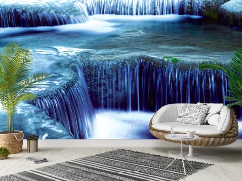 Fototapet Djungellandskap med Erawan vattenfall i Thailand