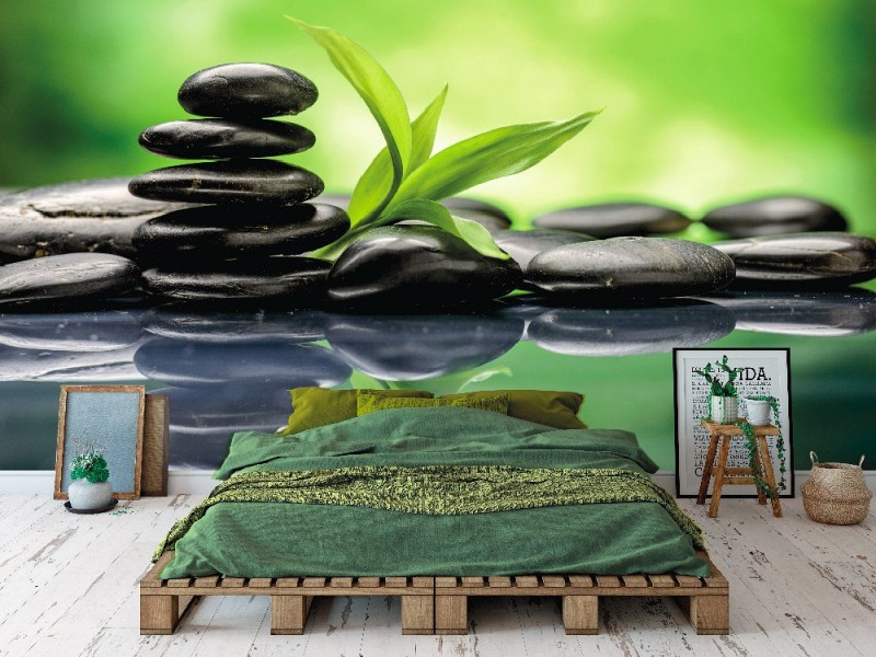 Fototapet Zen basaltstenar och bambu