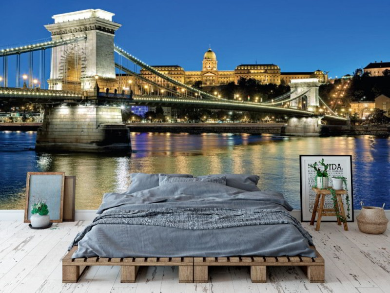 Fototapet kvällsvy av Szechenyi Chain bridge i Budapest (48982748)