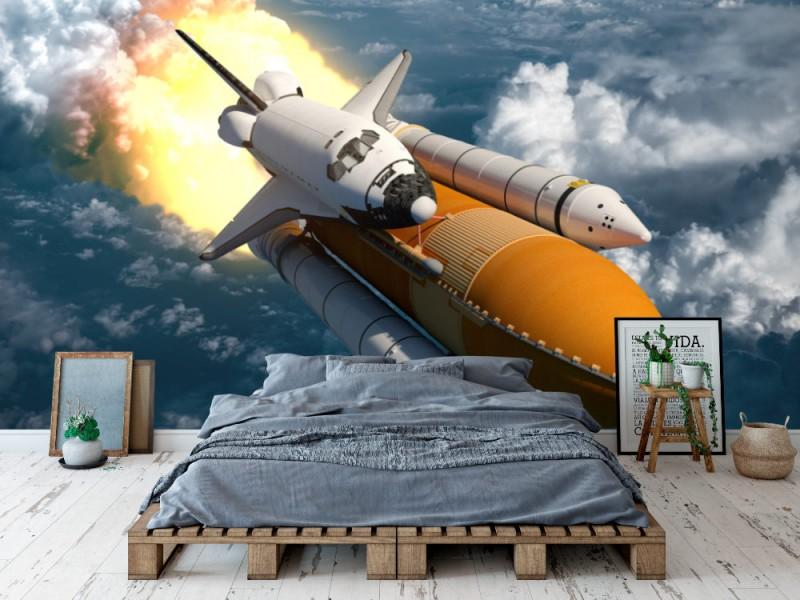 3D foto tapet rymdfärjan flyger över molnen (48989303)