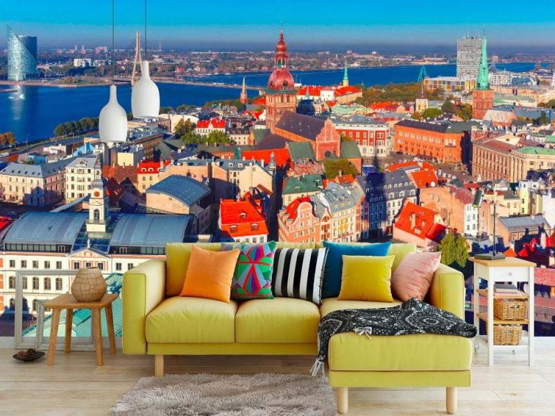 Fototapet Flygfoto över Riga