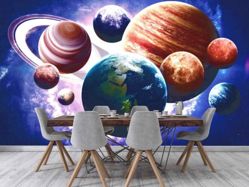 Fototapet planeter i solsystemet.