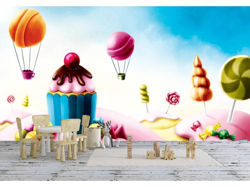 Fototapet fantasi godisland med muffins och konfekt (51594646)