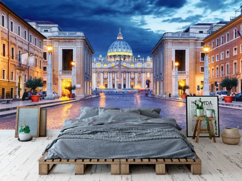 Fototapet Vatikanstaten på natten (53131288)
