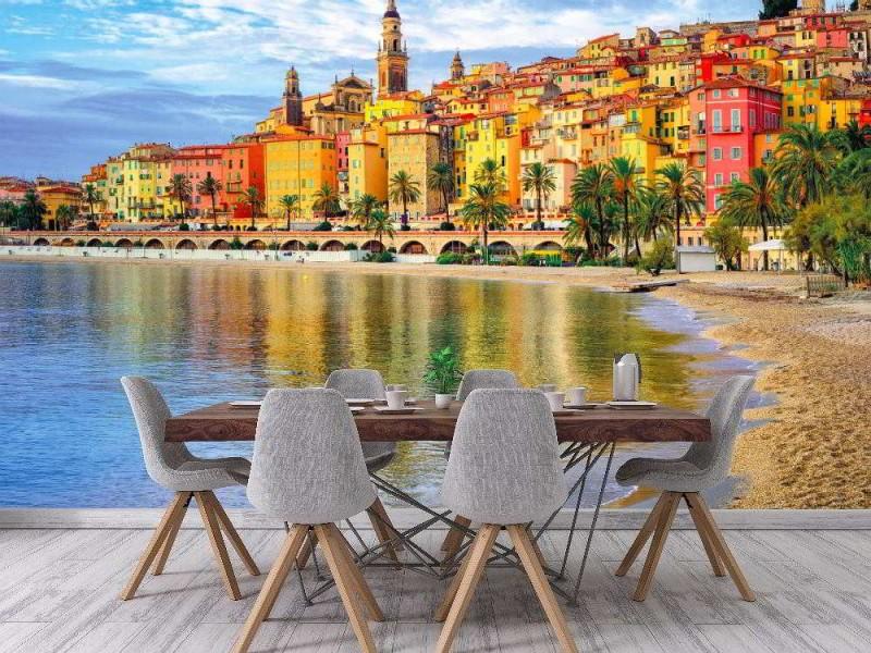 Fototapet stad Menton på franska Rivieran