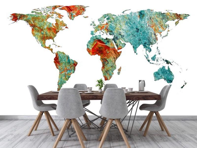 Fototapet sten världskarta