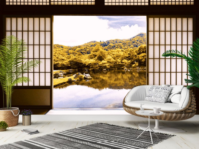 Fototapet Japansk damm trädgård