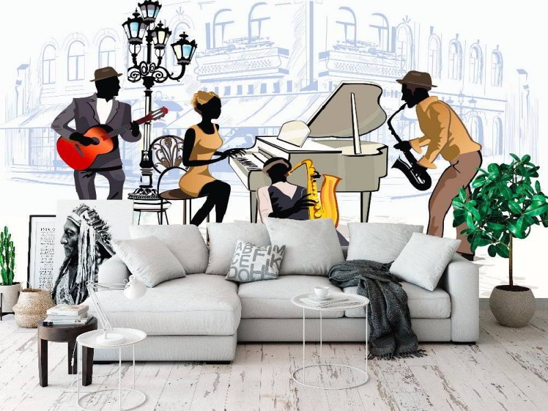 Fototapeter musiker i gamla stan