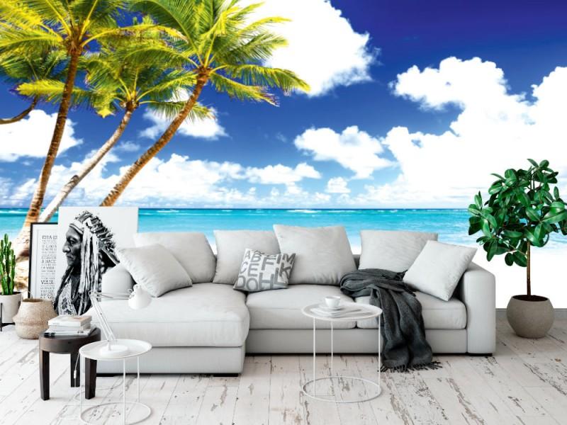 Fototapet kokospalmer på den vita sandstranden i Punta Cana (Dominikanska republiken)