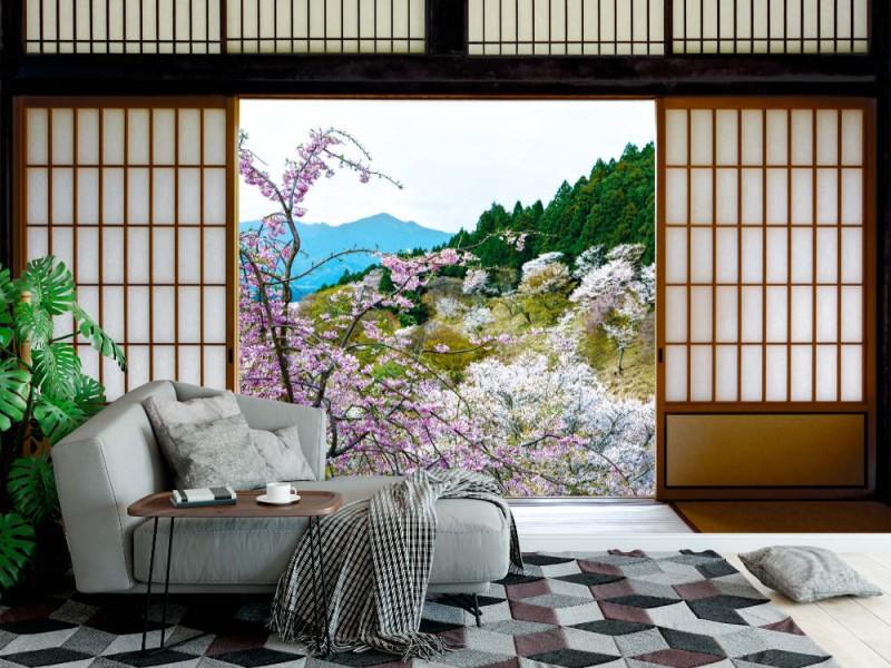Fototapet japanska skjutdörrar och vackert landskap av körsbärsträd på våren (58799299)