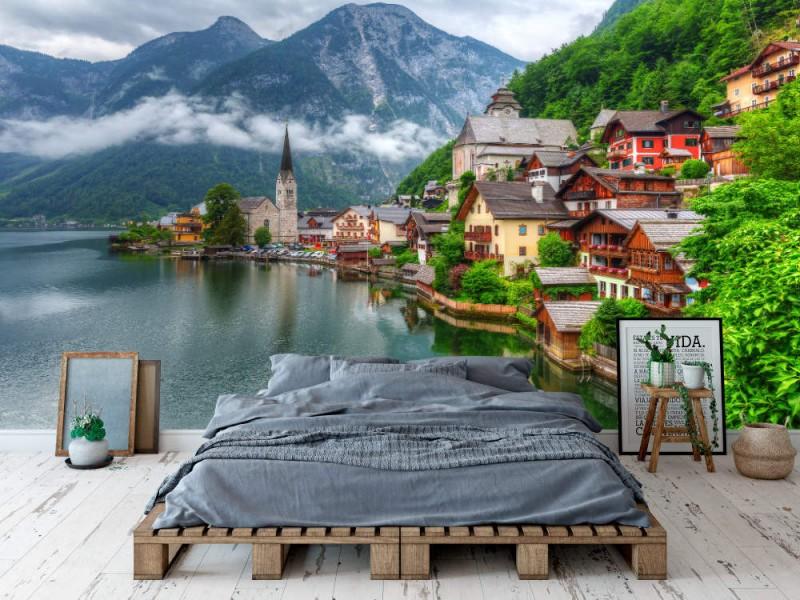 Fototapet Hallstatt Village In Alps